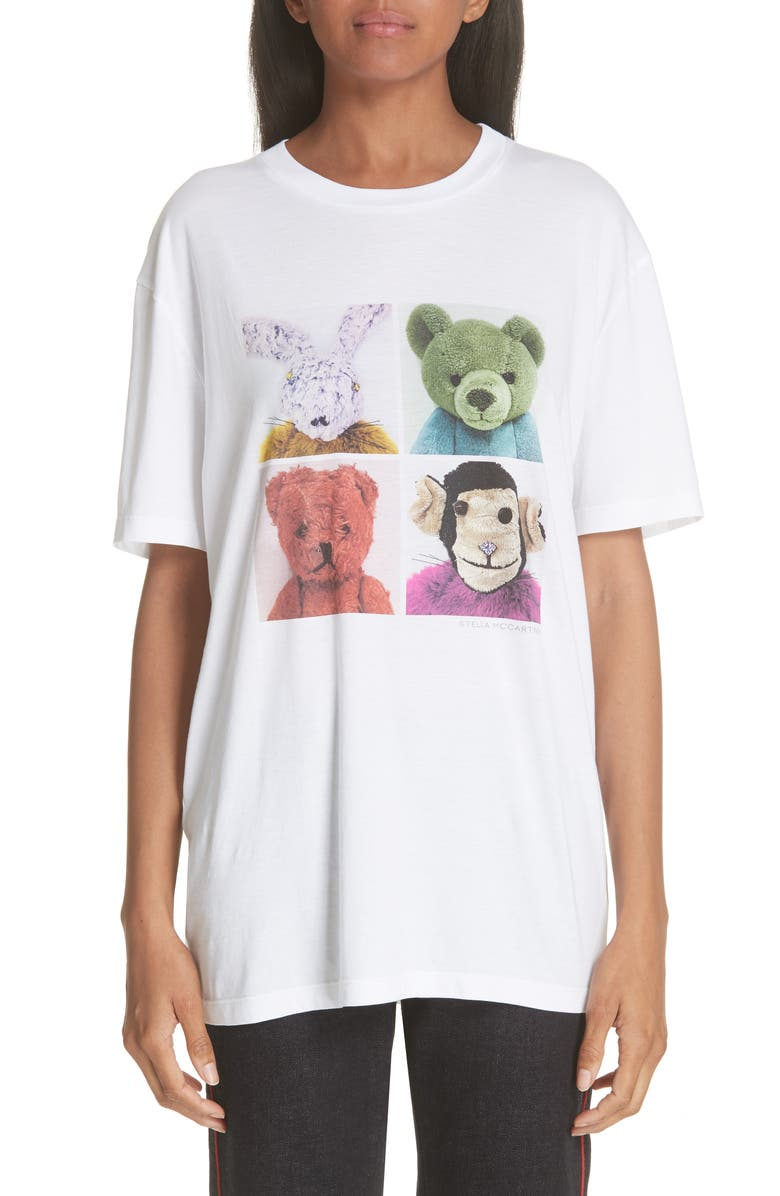 STELLA MCCARTNEY Stuffed Animal Graphic Tee, Main, color, 100