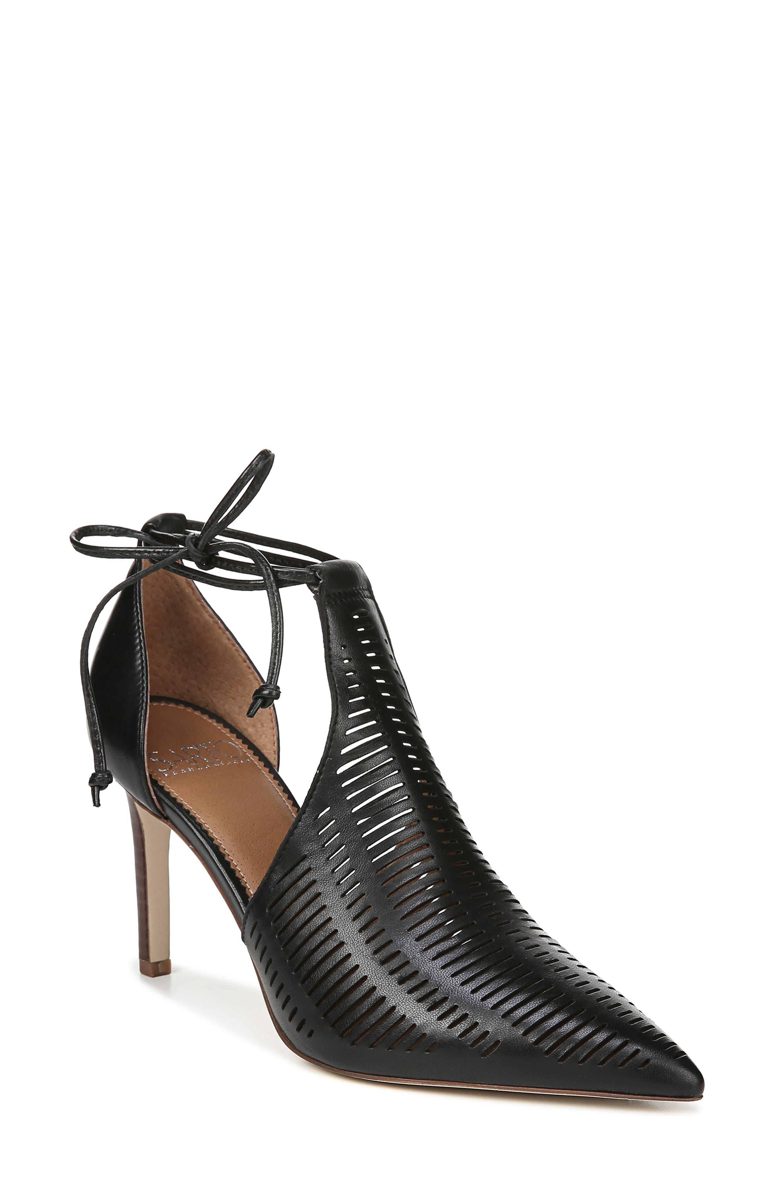 Sarto By Franco Sarto Krista Perforated Ankle Wrap Pump- Black