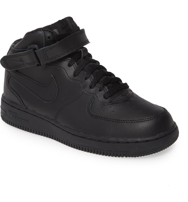 NIKE Air Force 1 Mid Sneaker, Main, color, BLACK/ BLACK