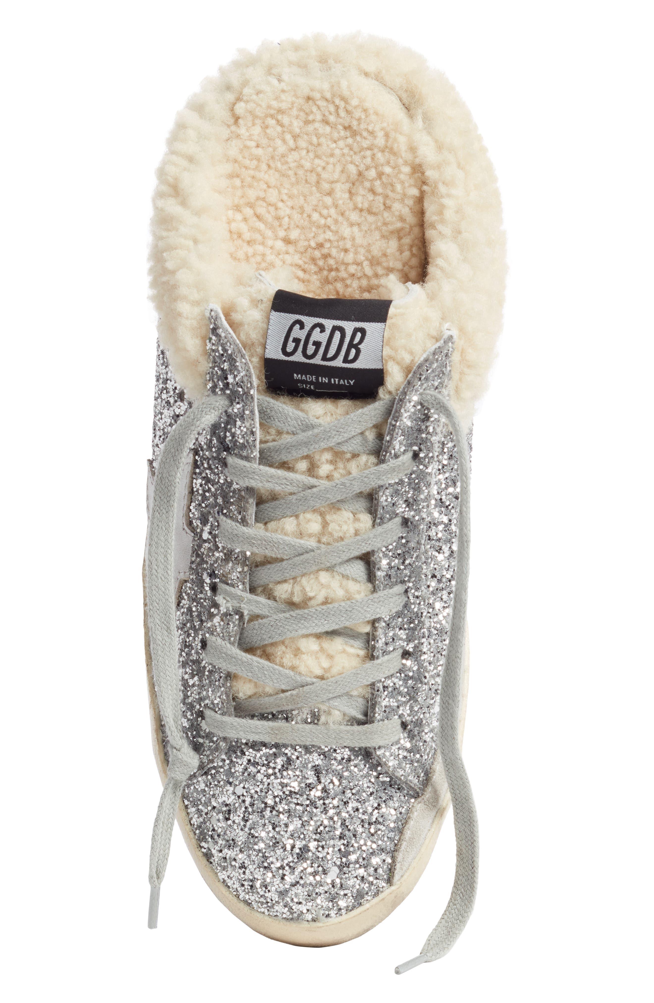 ,                             Sabot Superstar Genuine Shearling Slide Sneaker,                             Alternate thumbnail 5, color,                             SILVER/ WHITE
