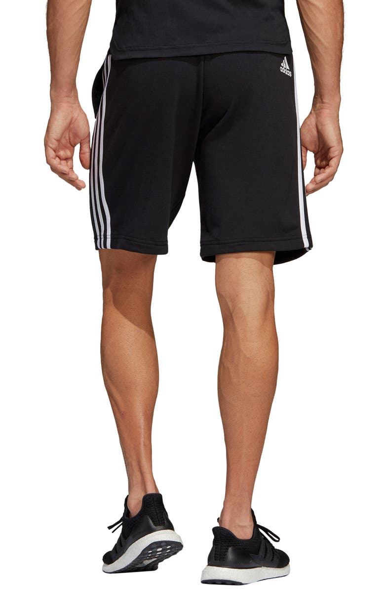 ADIDAS French Terry Athletic Shorts, Main, color, BLACK/ WHITE
