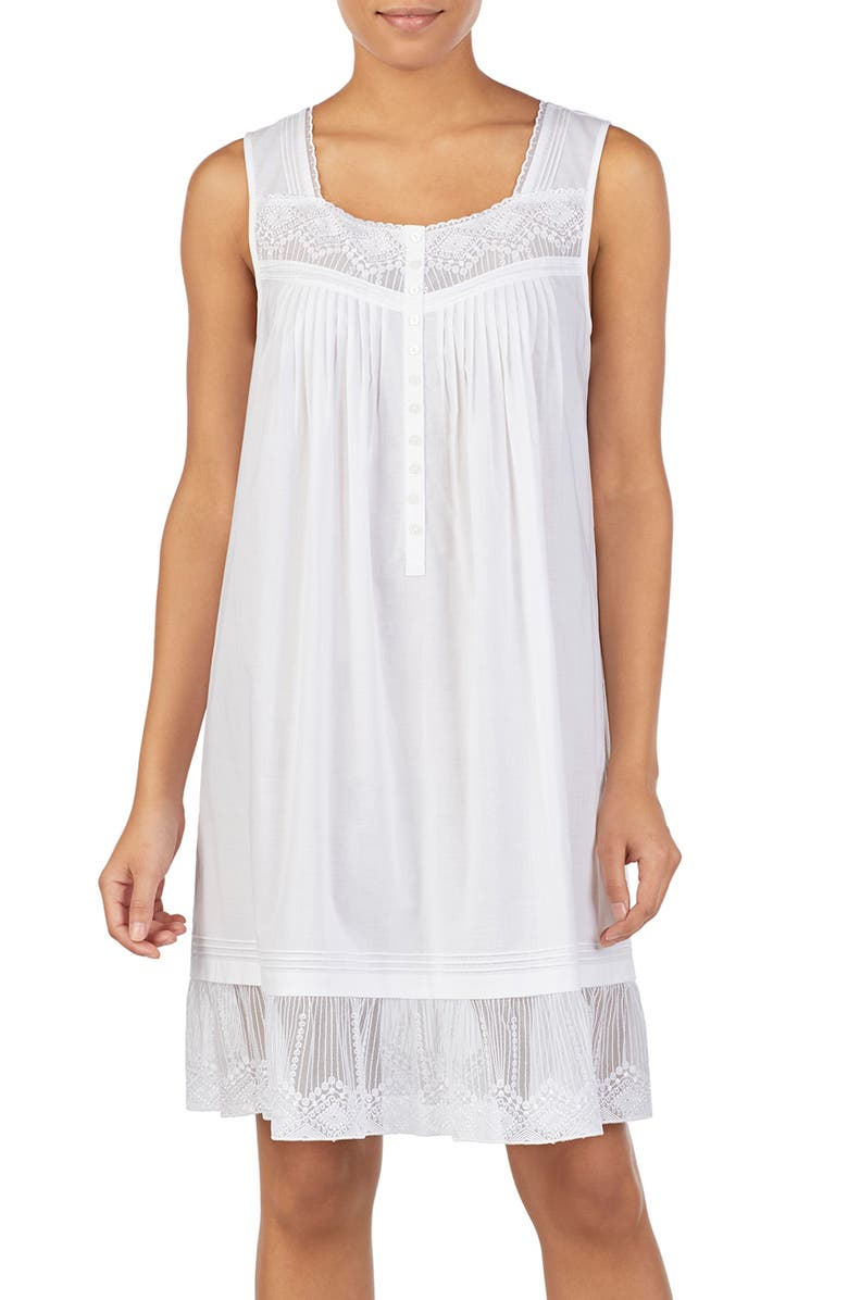 EILEEN WEST Cotton Chemise, Main, color, WHITE ORNATE NETTING EMB