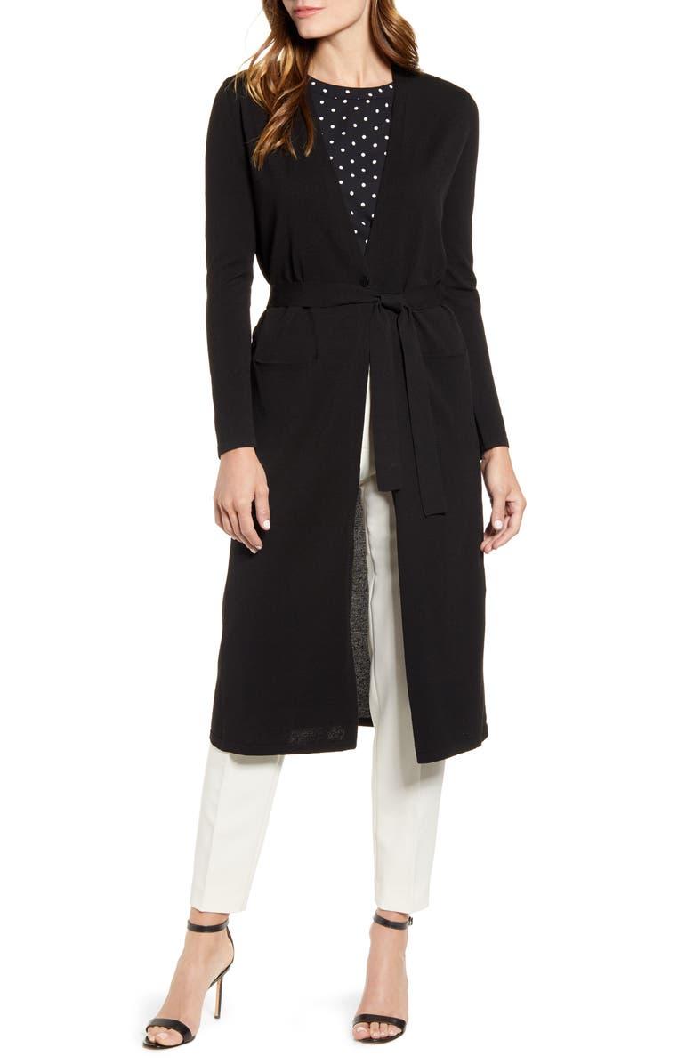 ANNE KLEIN Long Belted Cardigan, Main, color, ANNE BLACK