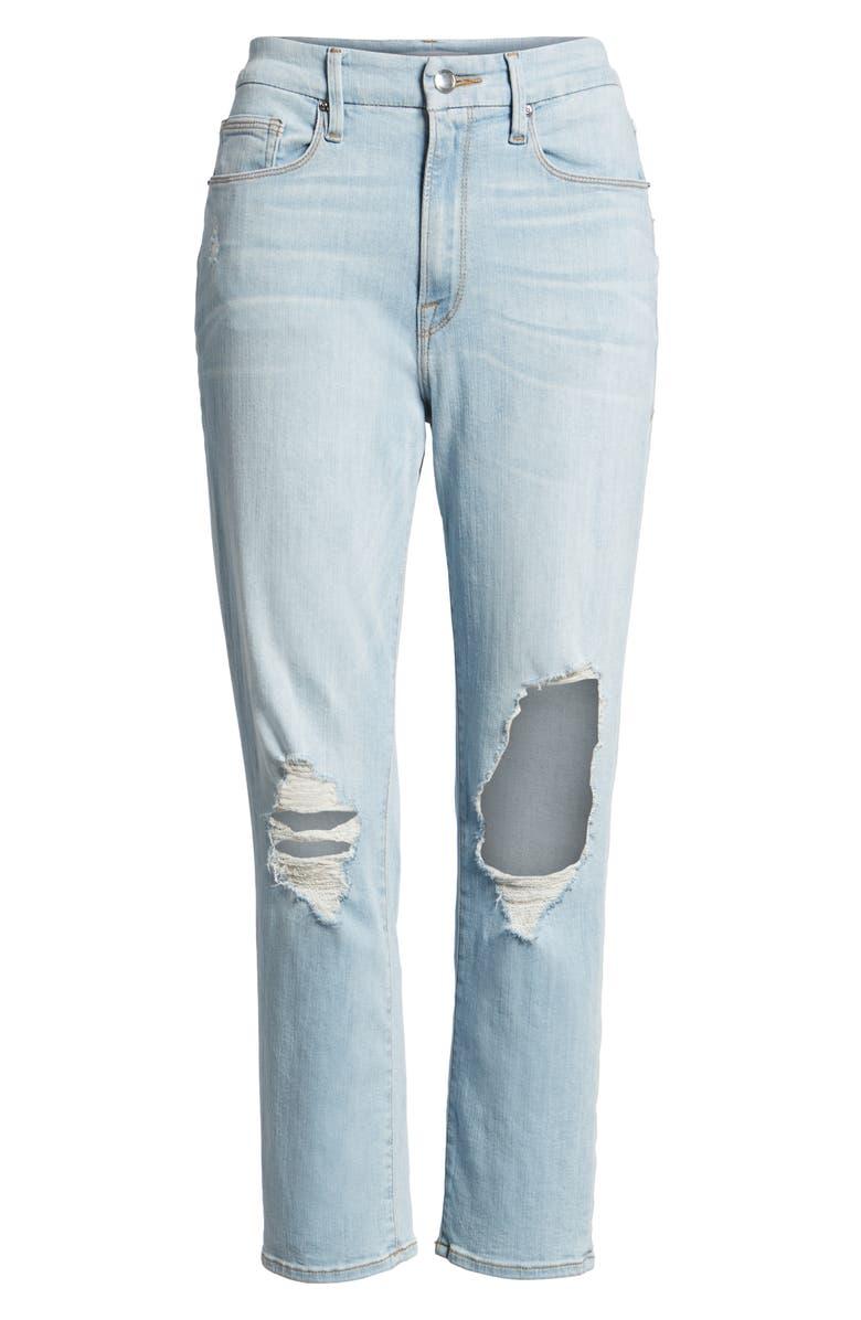 GOOD AMERICAN Good Cuts High Rise Ripped Boyfriend Jeans, Main, color, 401