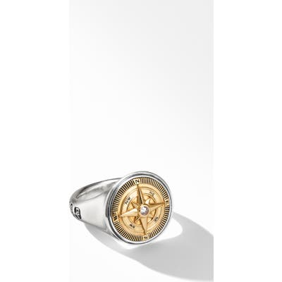 David Yurman Maritime Compass Signet Ring With 18K Yellow Gold And Center Diamond