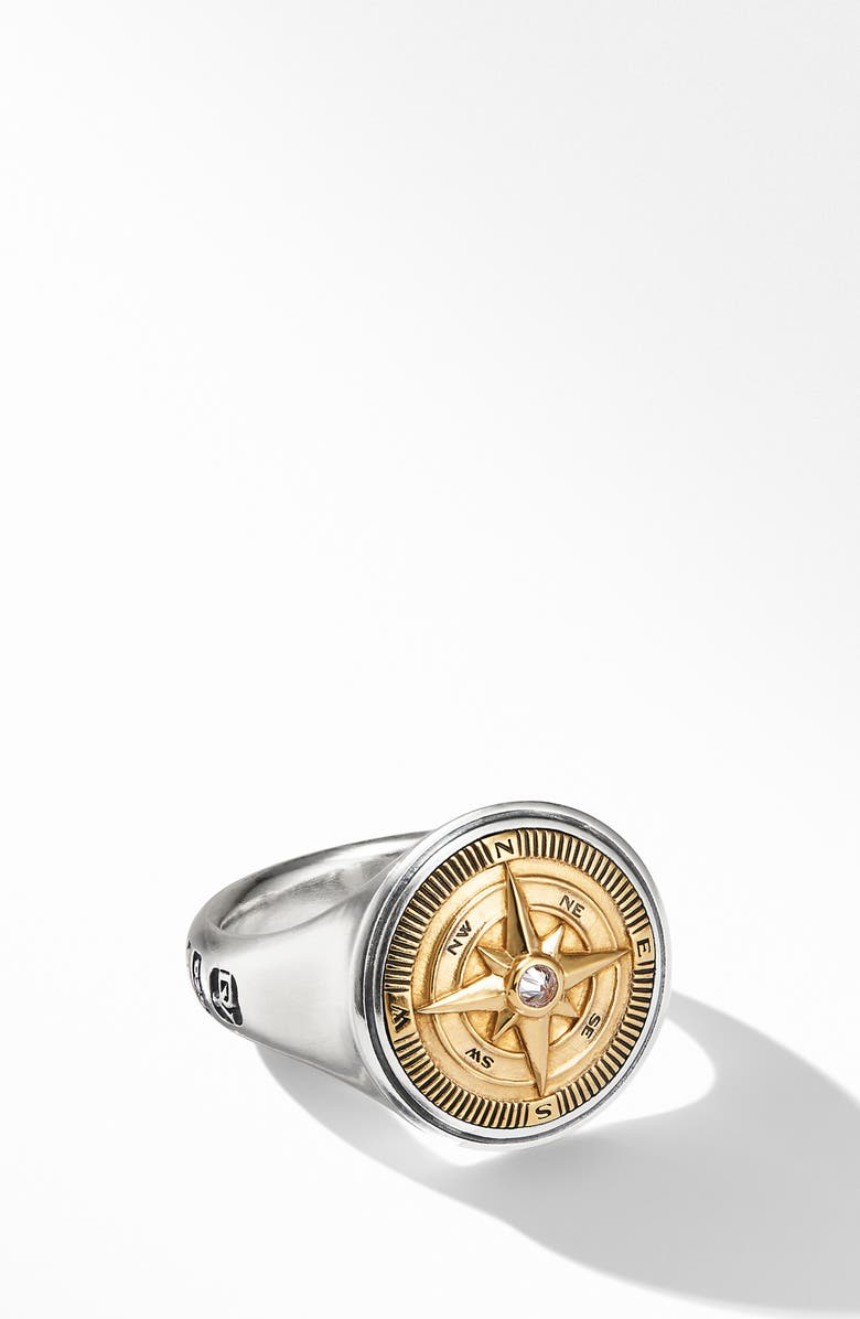 DAVID YURMAN Maritime<sup>®</sup> Compass Signet Ring with 18K Yellow Gold and Center Diamond, Main, color, SILVER/ YELLOW GOLD/ DIAMOND