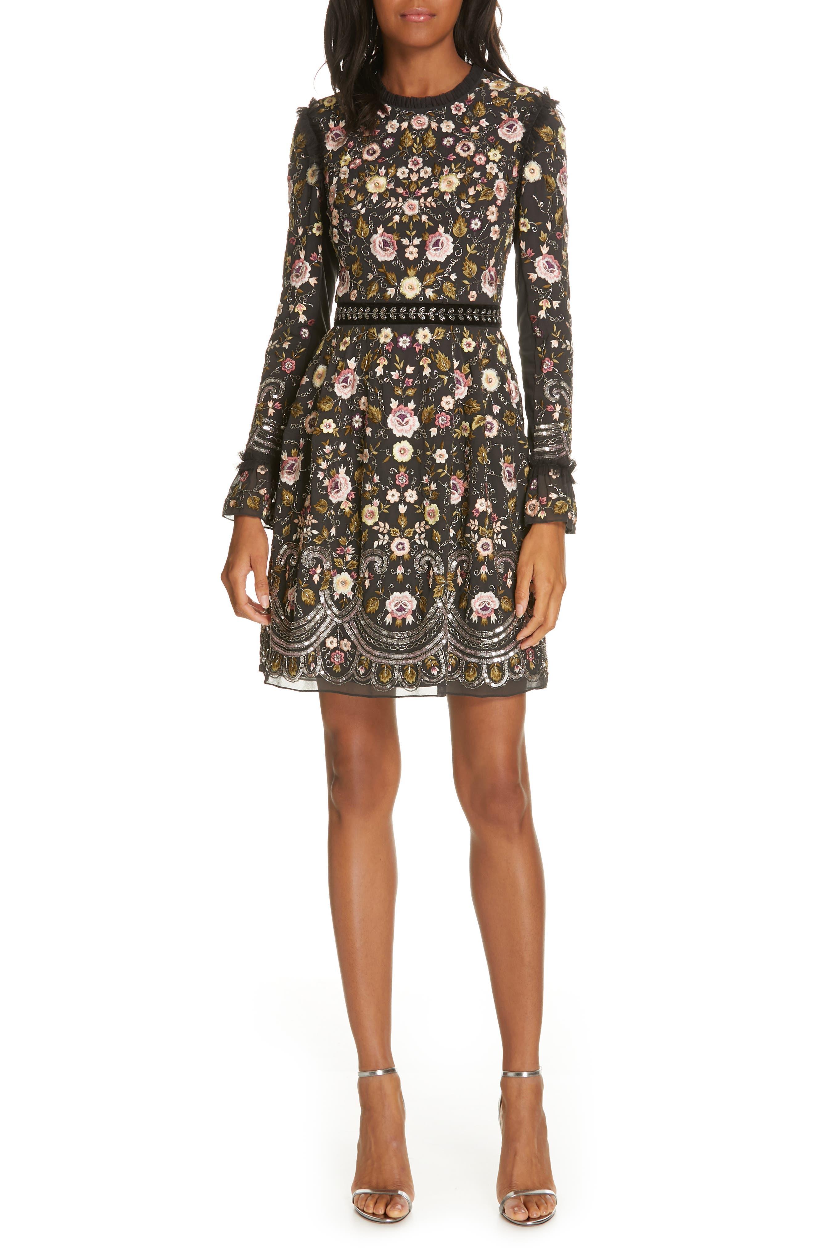 Needle & Thread Marella Embroidered Minidress, Black