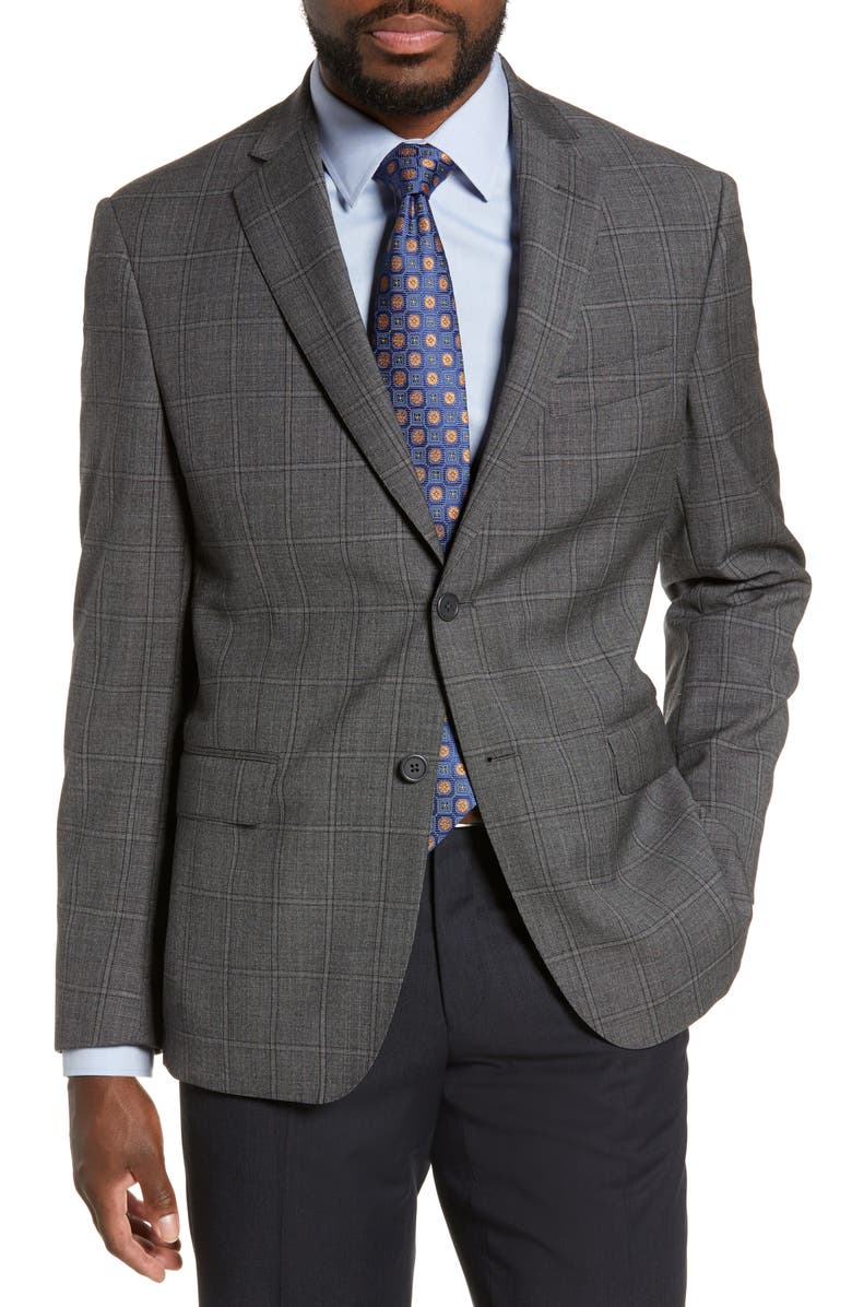 JB BRITCHES Classic Fit Plaid Wool Sport Coat, Main, color, CHARCOAL