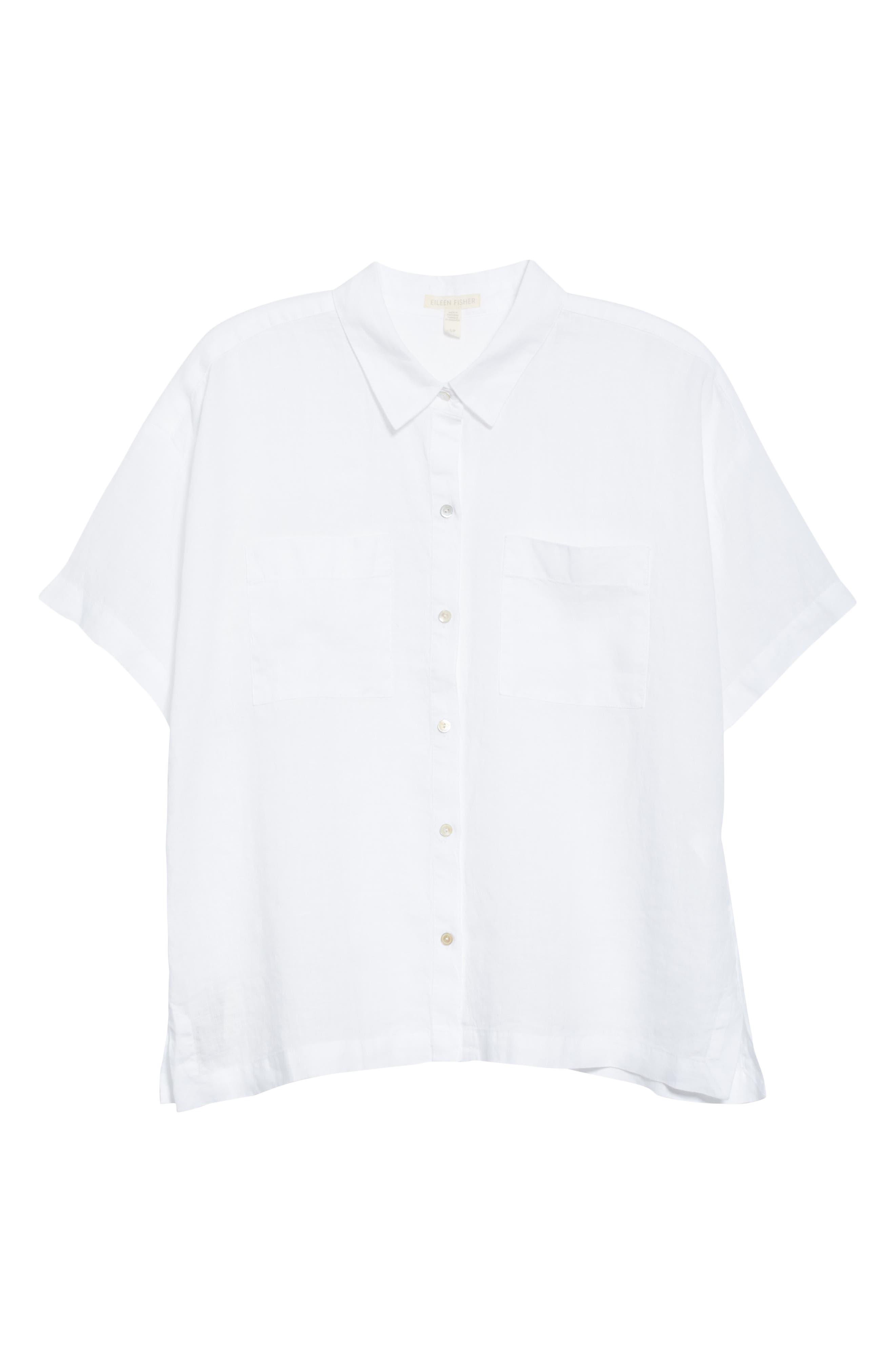 ,                             Organic Linen Shirt,                             Alternate thumbnail 6, color,                             WHITE
