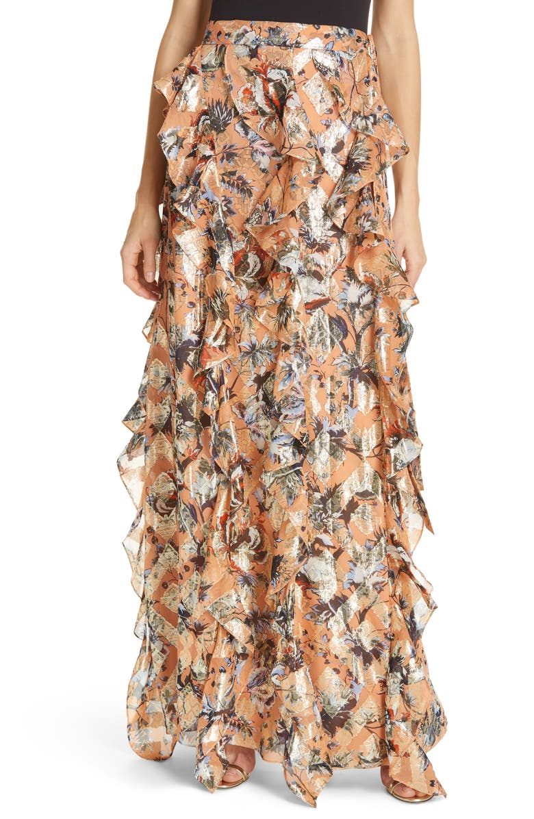 DVF Salona Floral Metallic Detail Silk Ruffle Skirt, Main, color, PORCELAIN FLOWERS DUSTY CORAL