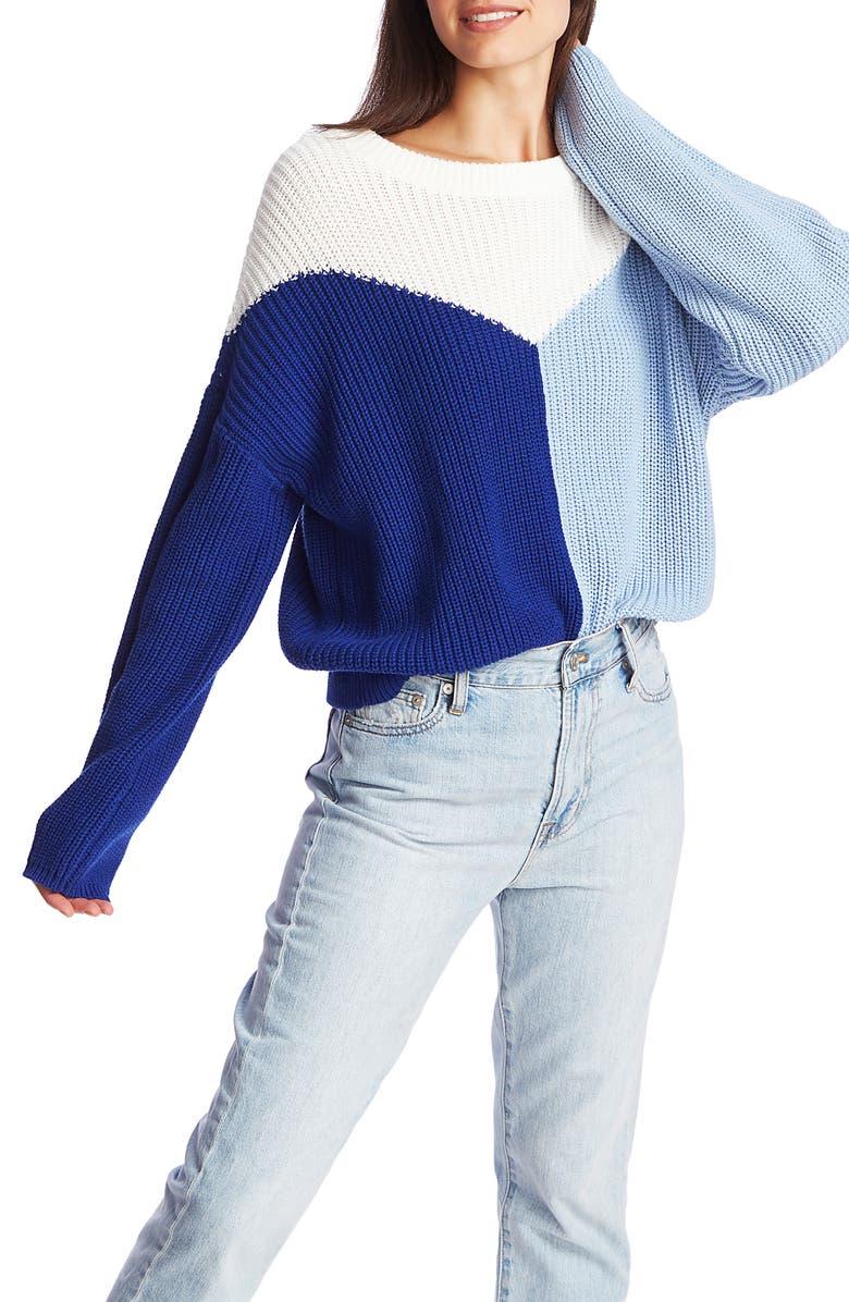 1.STATE Colorblock Crewneck Cotton Sweater, Main, color, NAVY SEA