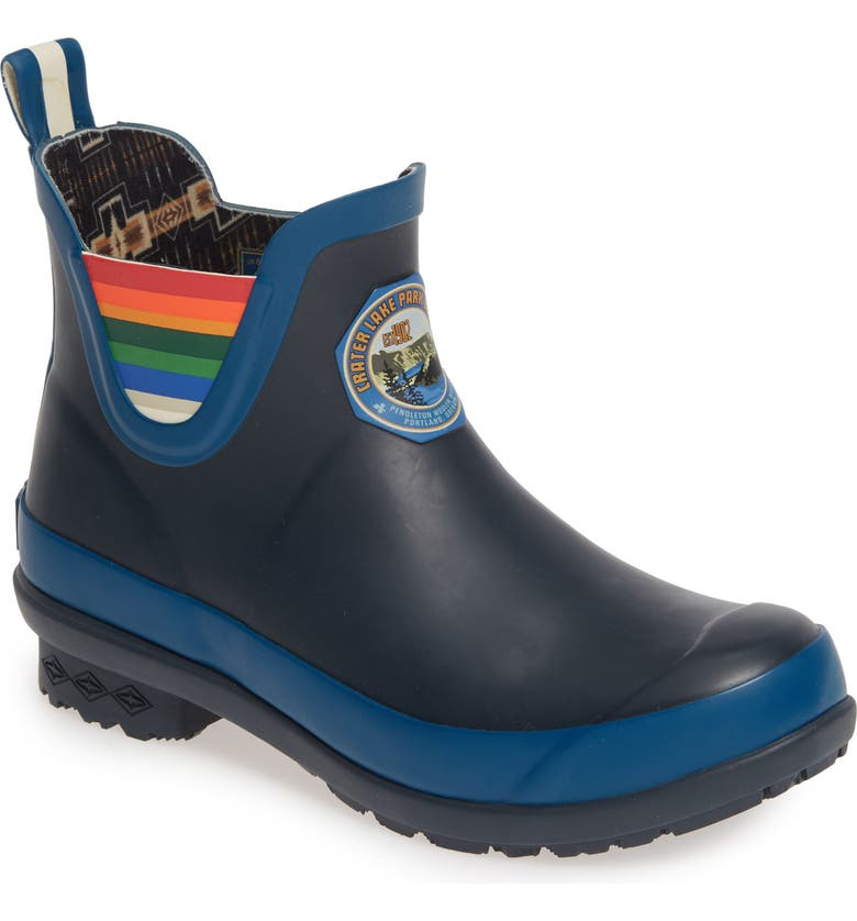 PENDLETON Crater Lake National Park Waterproof Chelsea Rain Boot, Main, color, BLUE RUBBER
