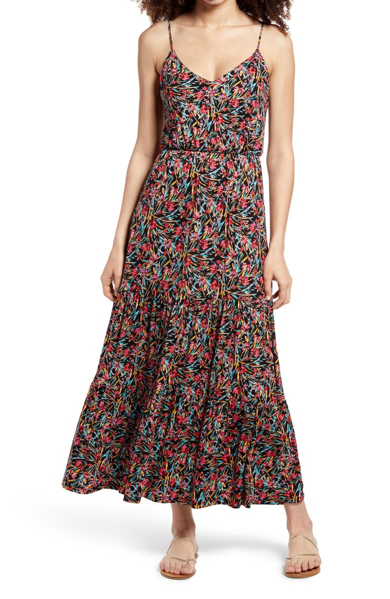 ALL IN FAVOR Tiered Cami Maxi Dress, Main, color, BLACK MULTI FLORAL