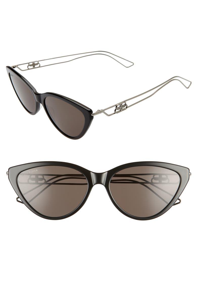 BALENCIAGA 56mm Cat Eye Sunglasses, Main, color, 003