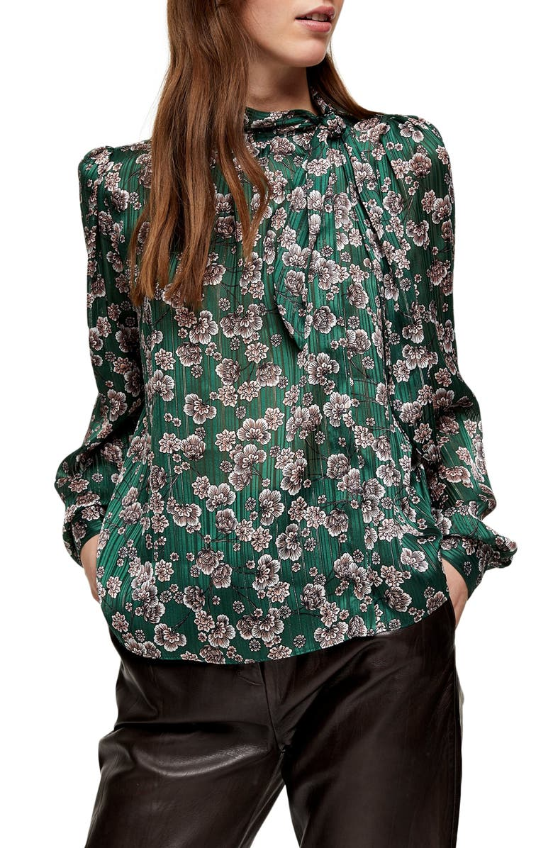 TOPSHOP Bow Neck Floral Top, Main, color, GREEN MULTI