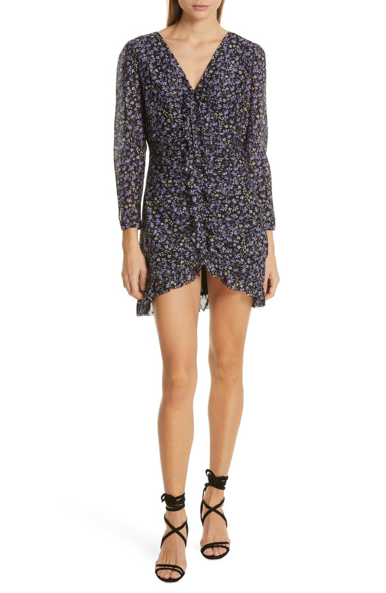 ROBERT RODRIGUEZ Lily Floral Print Ruched Dress, Main, color, PURPLE FLORAL