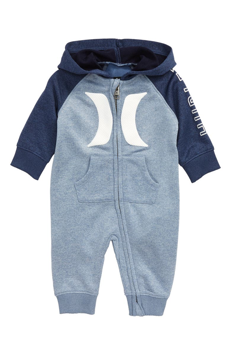 HURLEY Dri-FIT Hooded Colorblock Coverall, Main, color, DELFT HEATHER