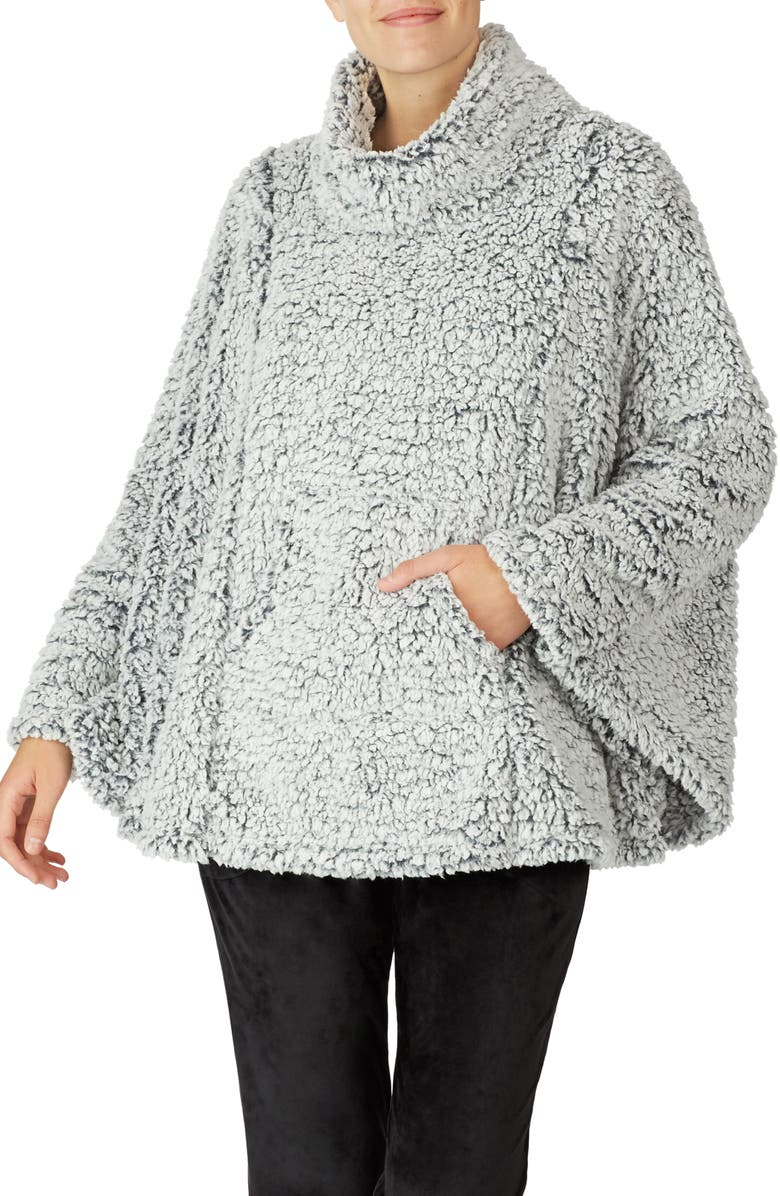 ROOM SERVICE Faux Shearling Poncho, Main, color, COZY FROSTED GREY SHERPA