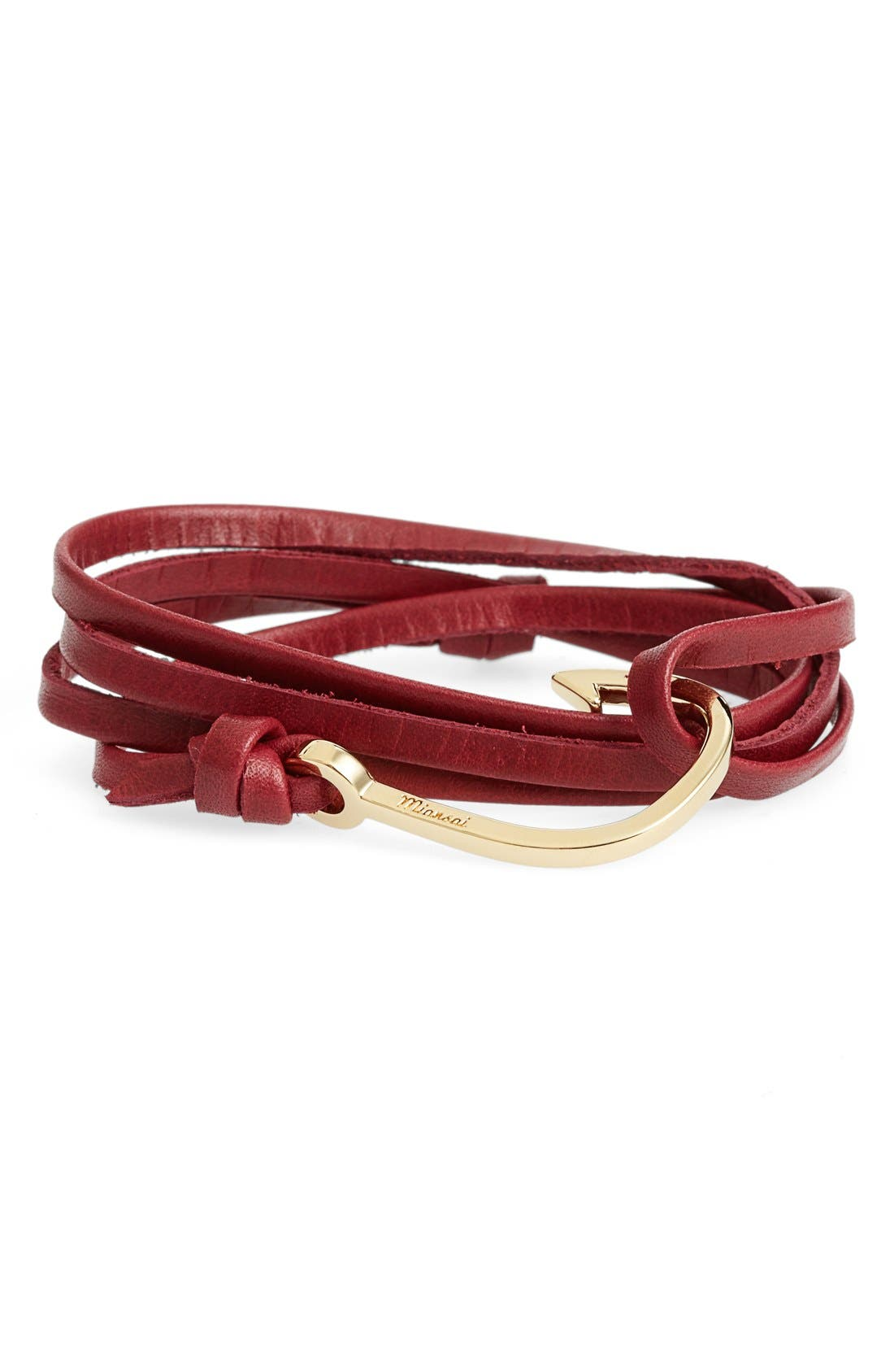 ,                             Gold Hook Leather Bracelet,                             Main thumbnail 17, color,                             930