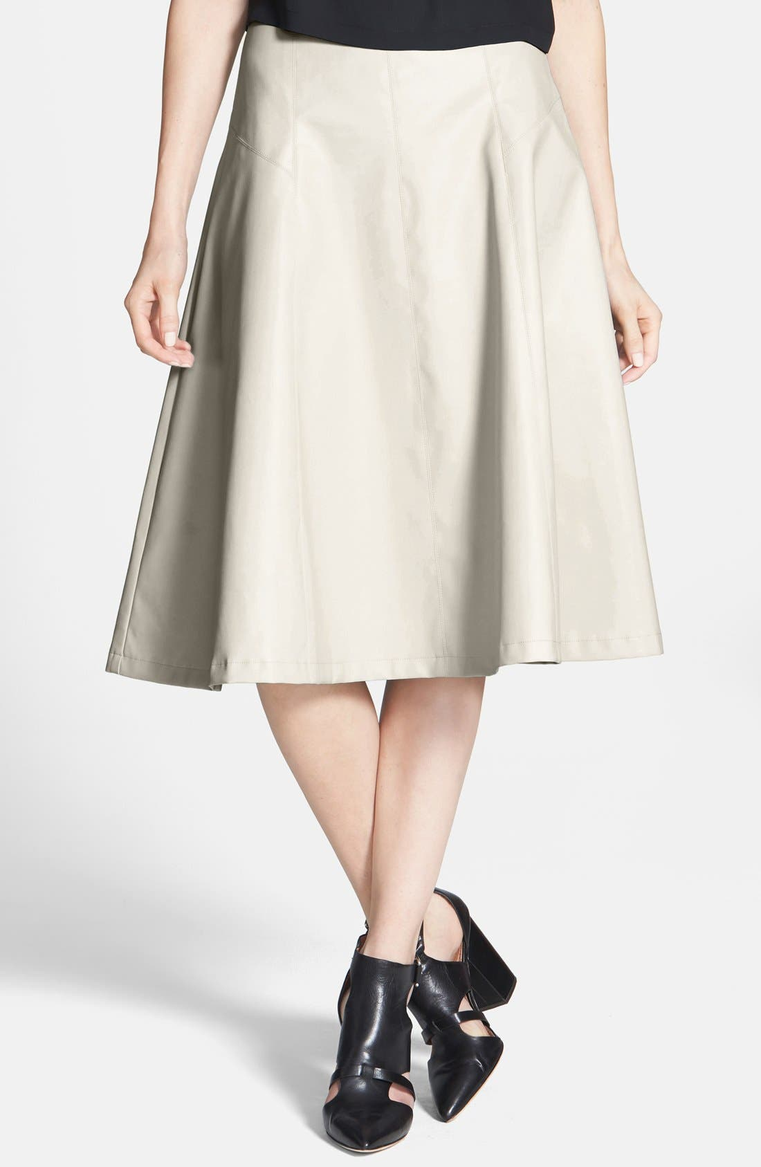 ASTR Faux Leather A-Line Midi Skirt, Main, color, 032