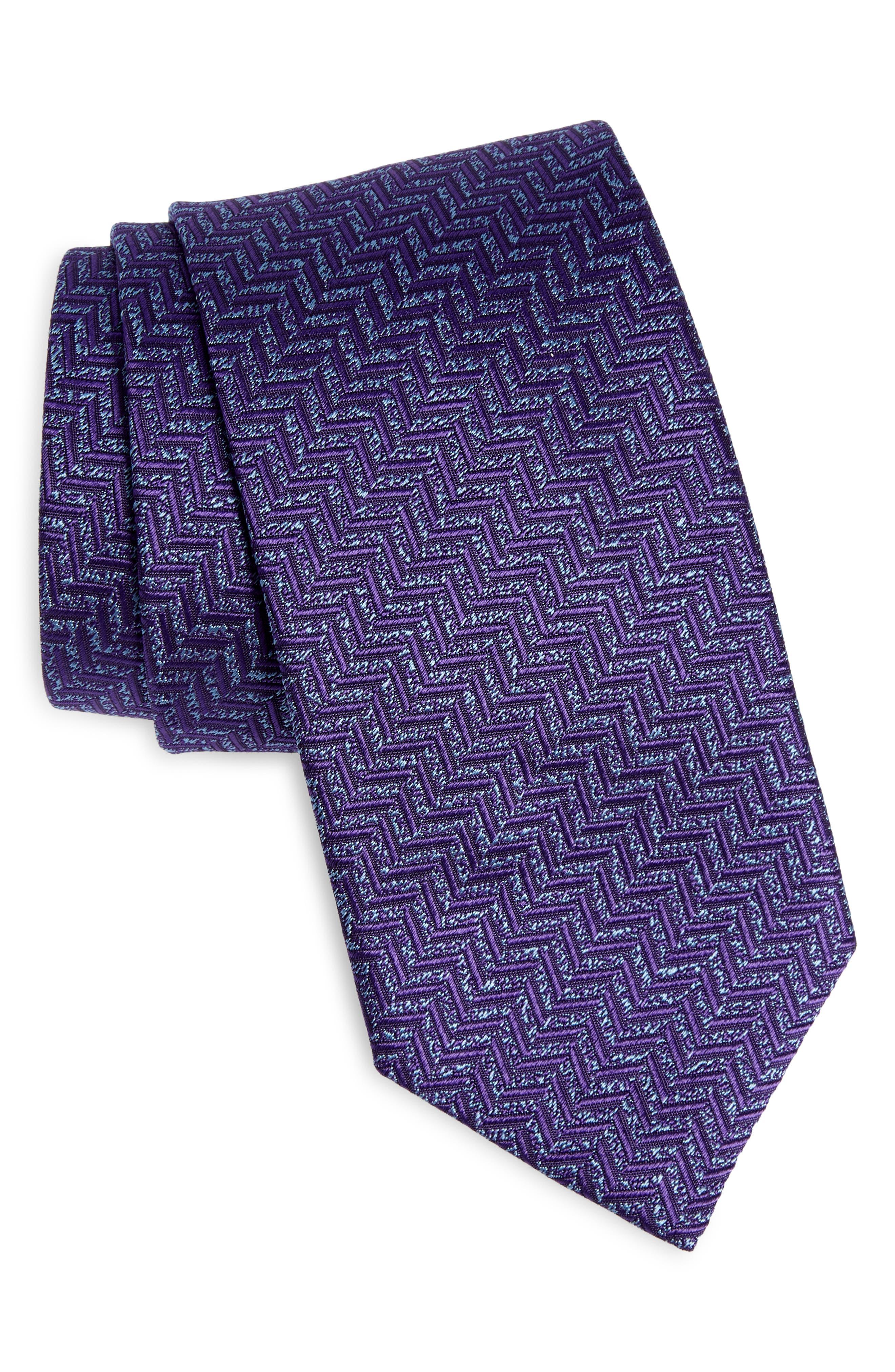 Solid Herringbone Silk Tie
