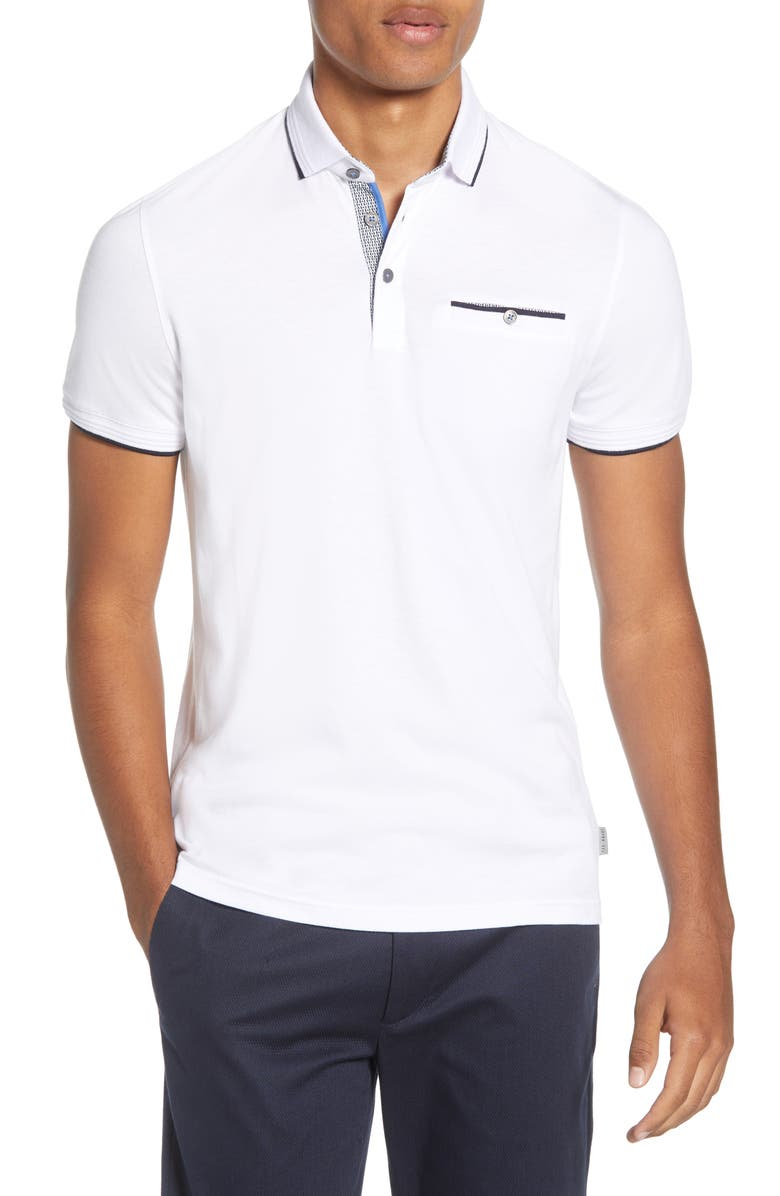 TED BAKER LONDON Derry Slim Fit Polo, Main, color, WHITE