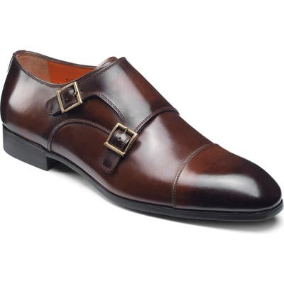 Santoni Inca Double Monk Strap Shoe - Brown
