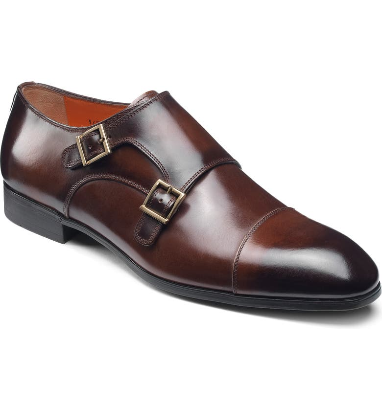 SANTONI Inca Double Monk Strap Shoe, Main, color, DARK BROWN