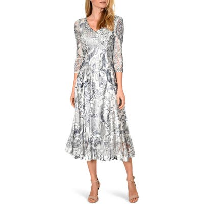 Komarov Lace Sleeve Charmeuse Midi Dress, Grey