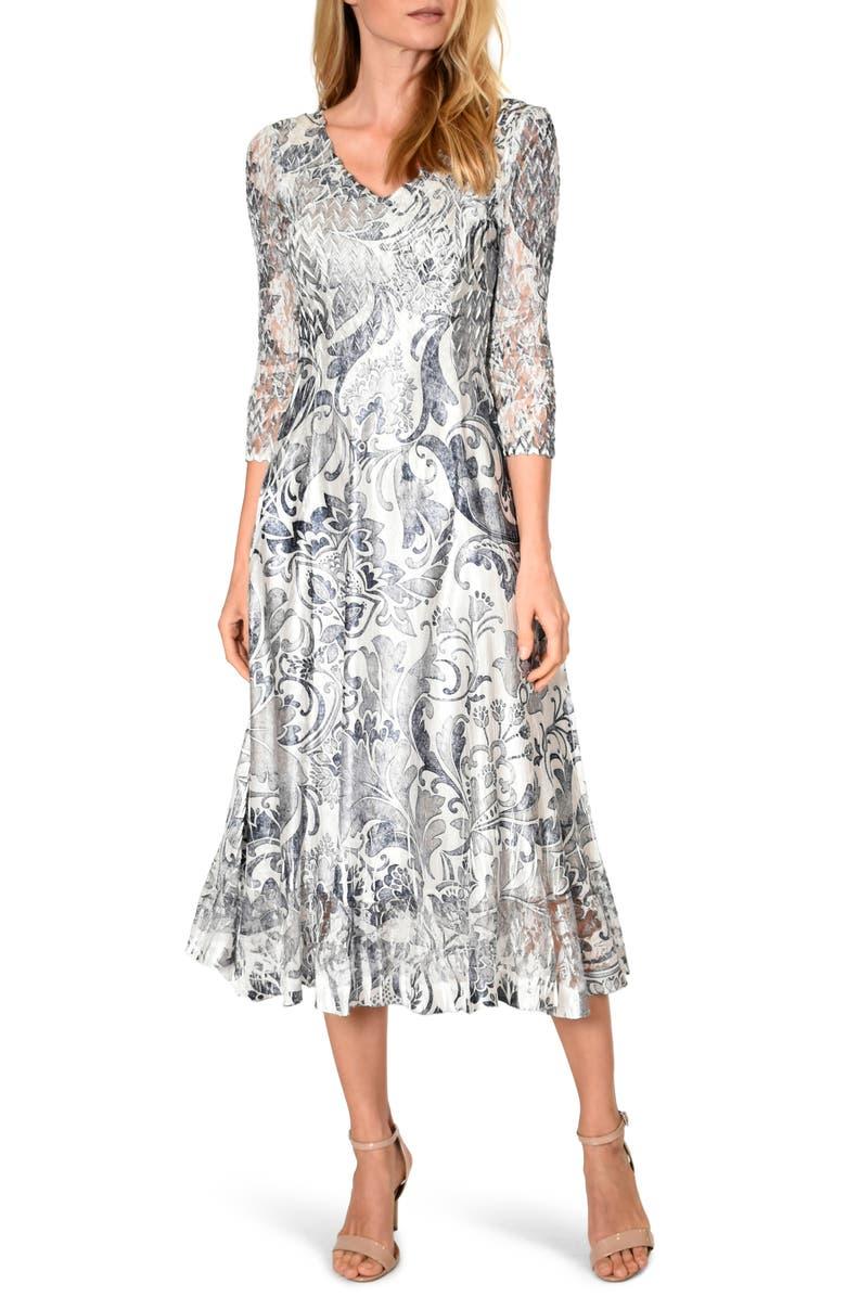 KOMAROV Lace Sleeve Charmeuse Midi Dress, Main, color, ANTIQUE BROCADE