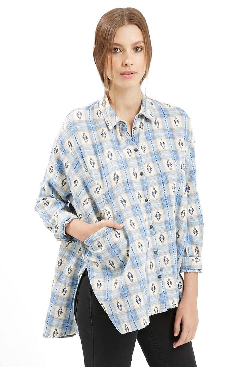 TOPSHOP Southwestern Print Oversize Button Down Shirt, Main, color, 450