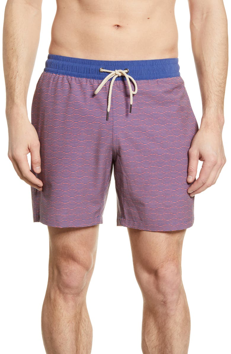 FAIR HARBOR The Bayberry Wave Print Swim Trunks, Main, color, RED WAVES