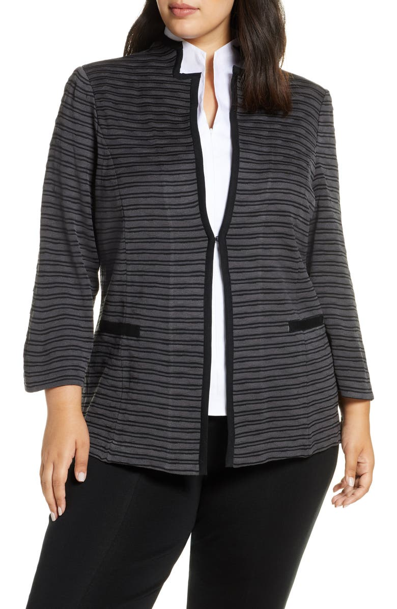 MING WANG Stripe Knit Jacket, Main, color, GRANITE/ BLACK