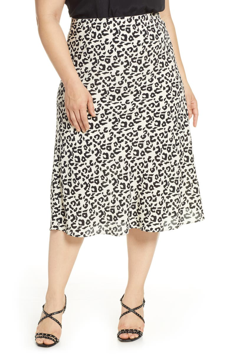 LEITH Bias Cut Midi Skirt, Main, color, IVORY FLORAL ANIMAL