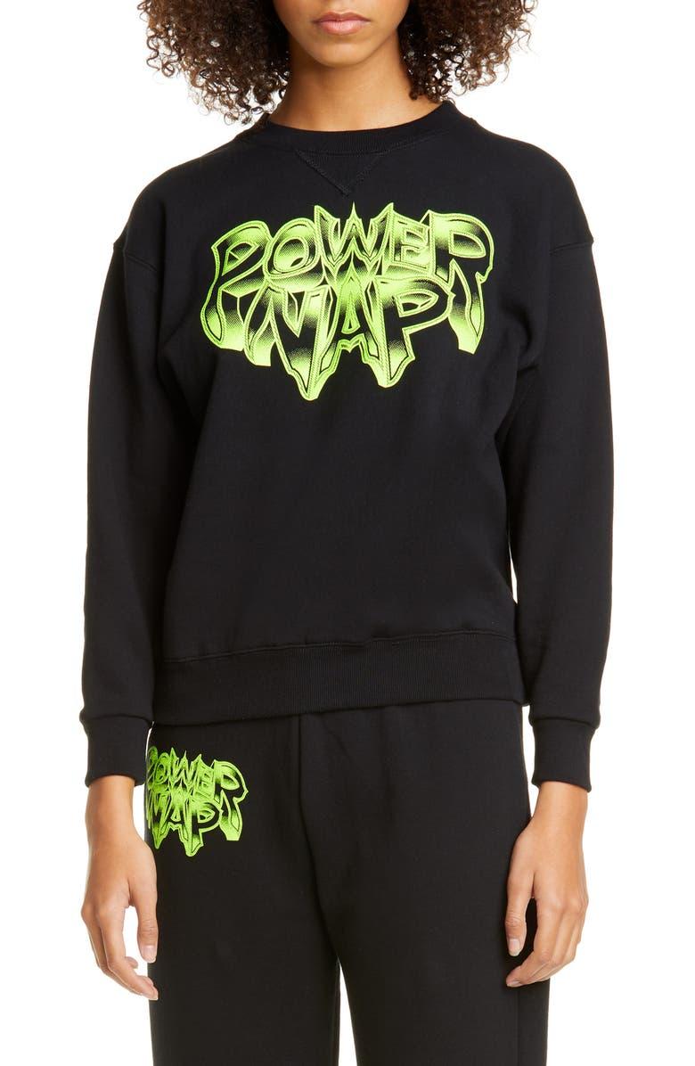 ASHLEY WILLIAMS Power Nap Neon Graphic Sweatshirt, Main, color, BLACK/ YELLOW