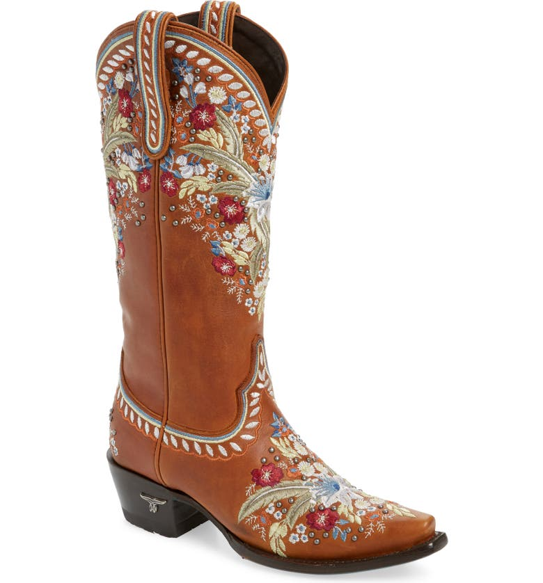LANE BOOTS Chloe Floral Embroidered Western Boot, Main, color, CINNAMON LEATHER