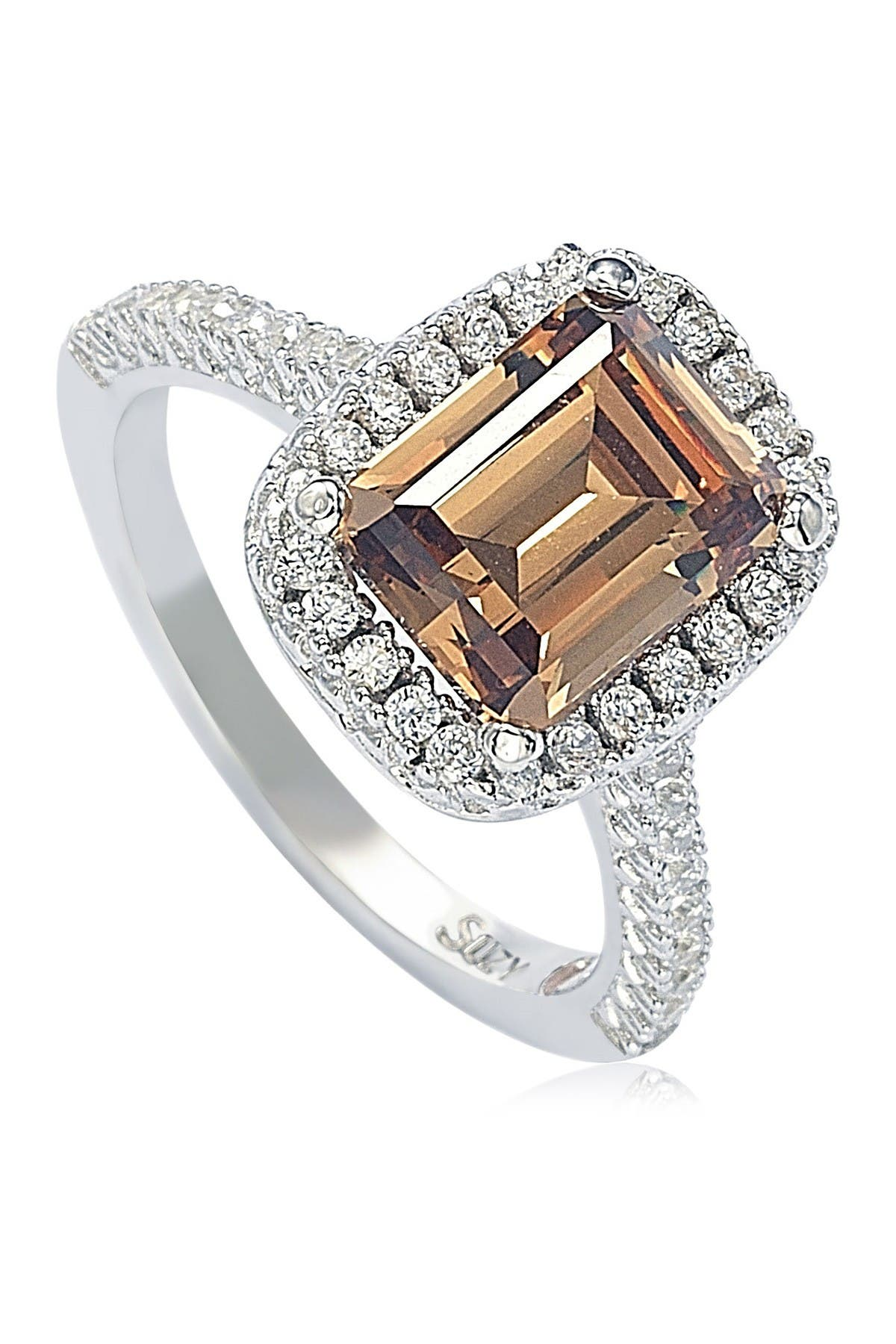 Image of Suzy Levian Sterling Silver Ascher Cut Brown CZ Ring