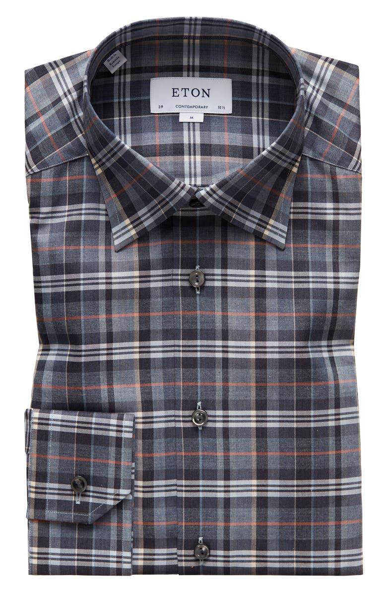 ETON Contemporary Fit Plaid Dress Shirt, Main, color, GREY