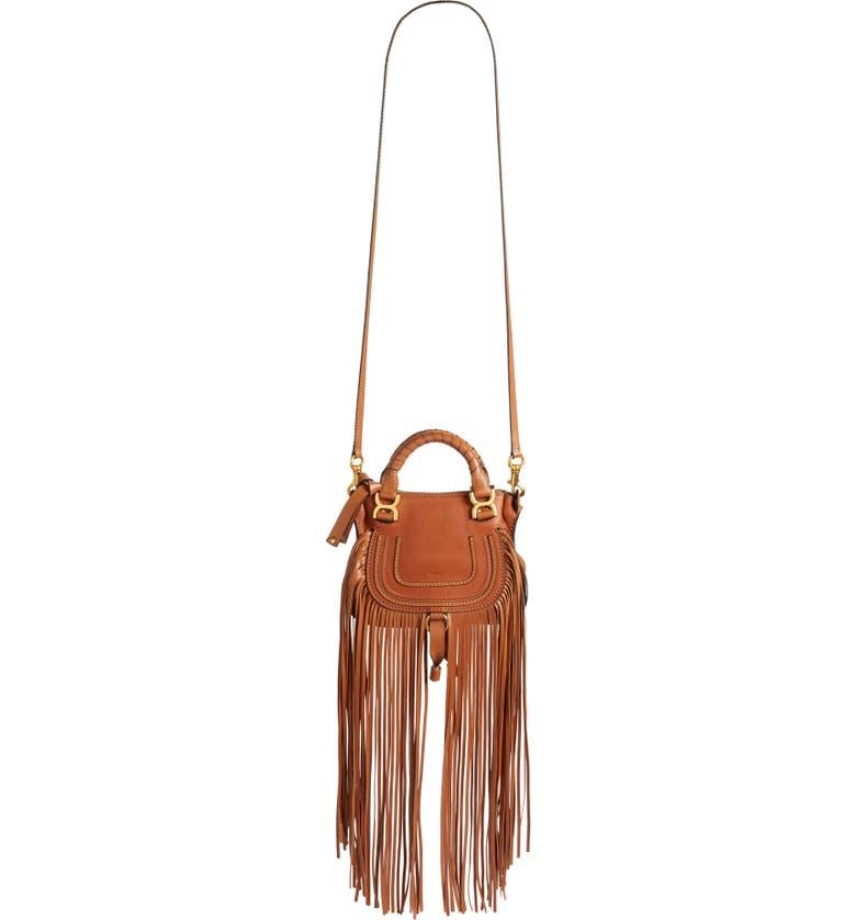 CHLOÉ Mini Marcie Fringe Leather Crossbody Bag, Main, color, TAN