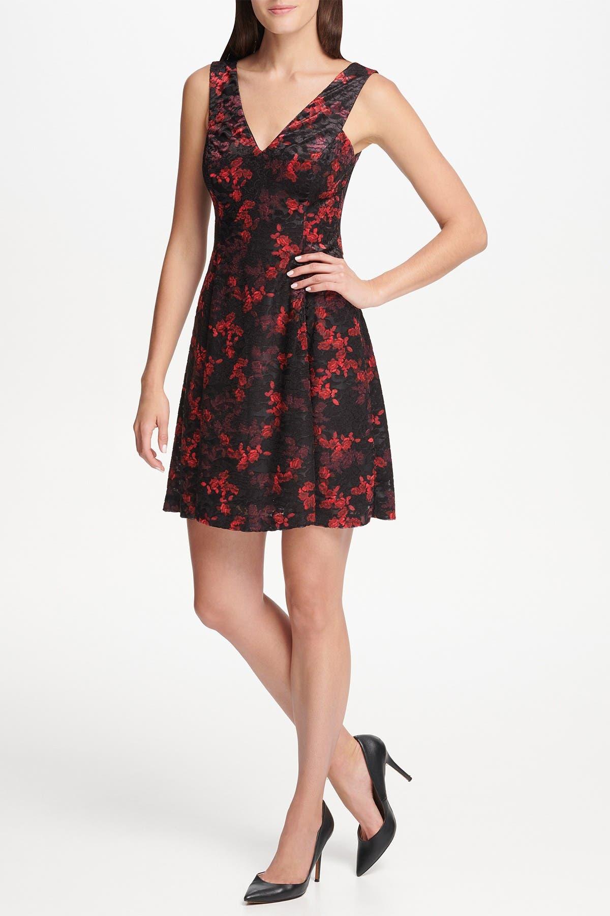 Image of Kensie Burnout Velvet V-Neck Fit & Flare Mini Dress
