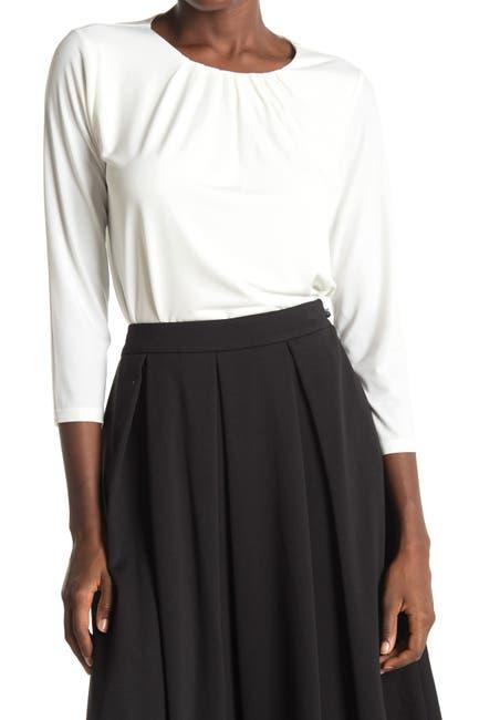 Image of Calvin Klein 3/4 Sleeve Pleated Scoop Neck Top