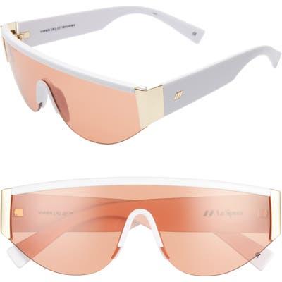 Le Specs Viper 130Mm Shield Sunglasses - Shiny White Gold/ Cinnam Tint
