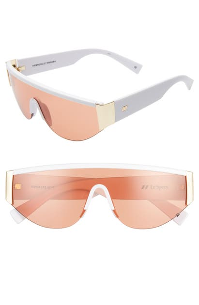 Le Specs Sunglasses VIPER 130MM SHIELD SUNGLASSES - SHINY WHITE GOLD/ CINNAM TINT