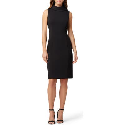 Petite Tahari Wraparound Collar Stretch Crepe Sheath Dress, Black