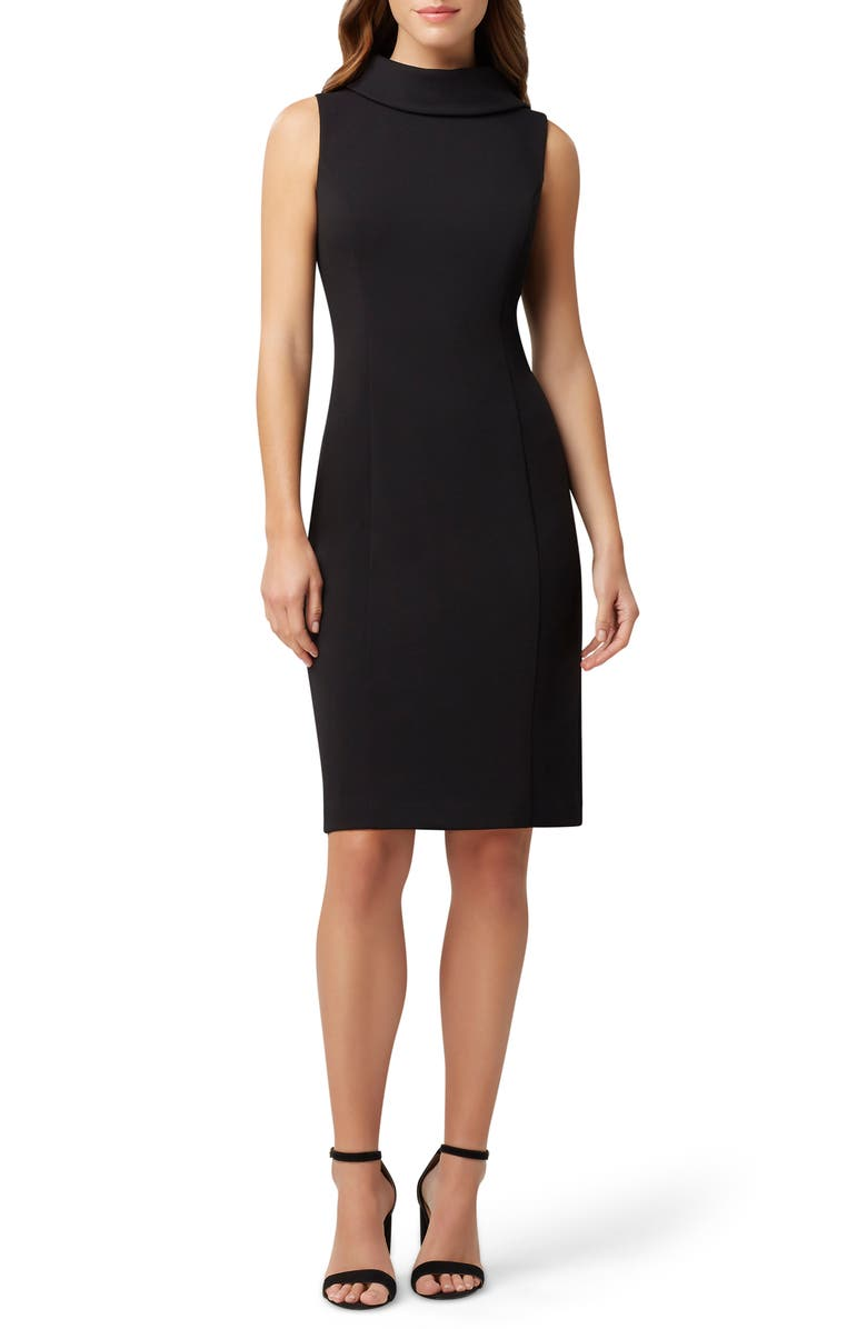 TAHARI Wraparound Collar Stretch Crepe Sheath Dress, Main, color, BLACK