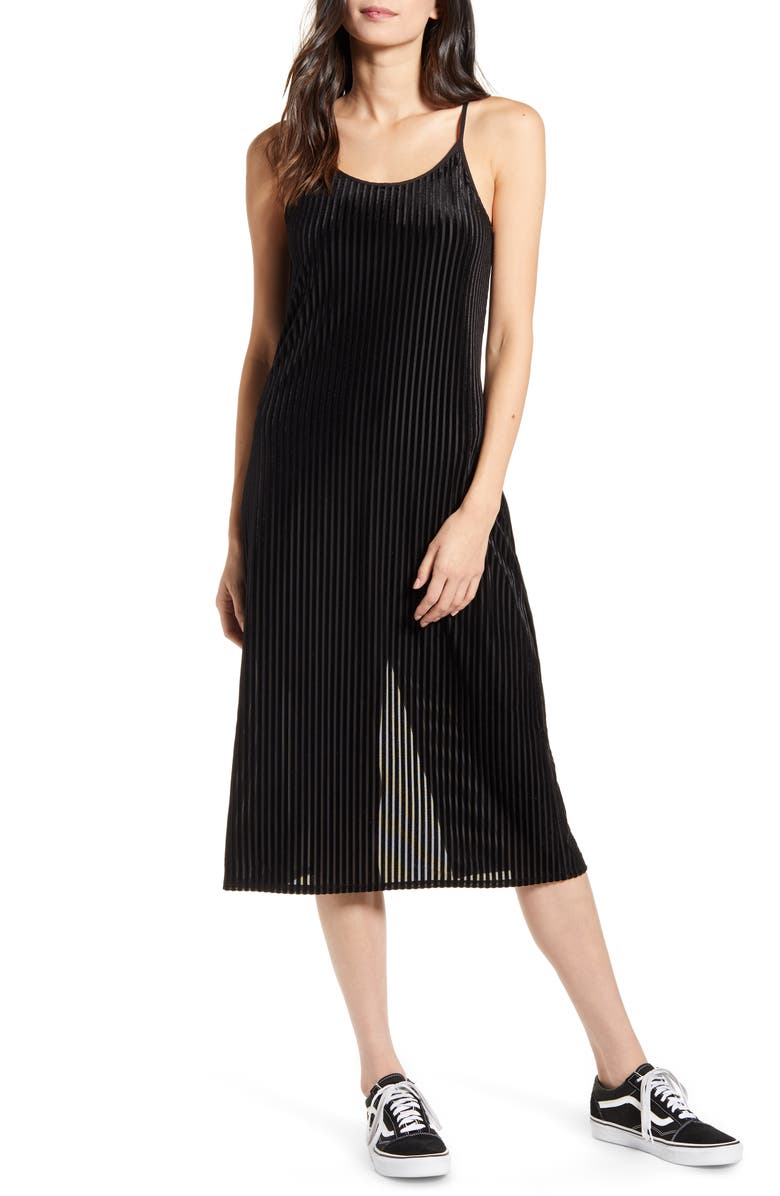 BAND OF GYPSIES Dix Stripe Velvet Dress, Main, color, 001