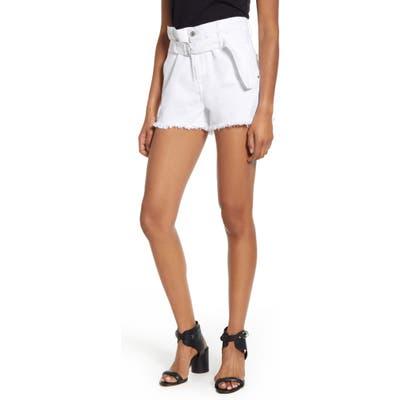 7 For All Mankind Paperbag Waist Denim Shorts, White