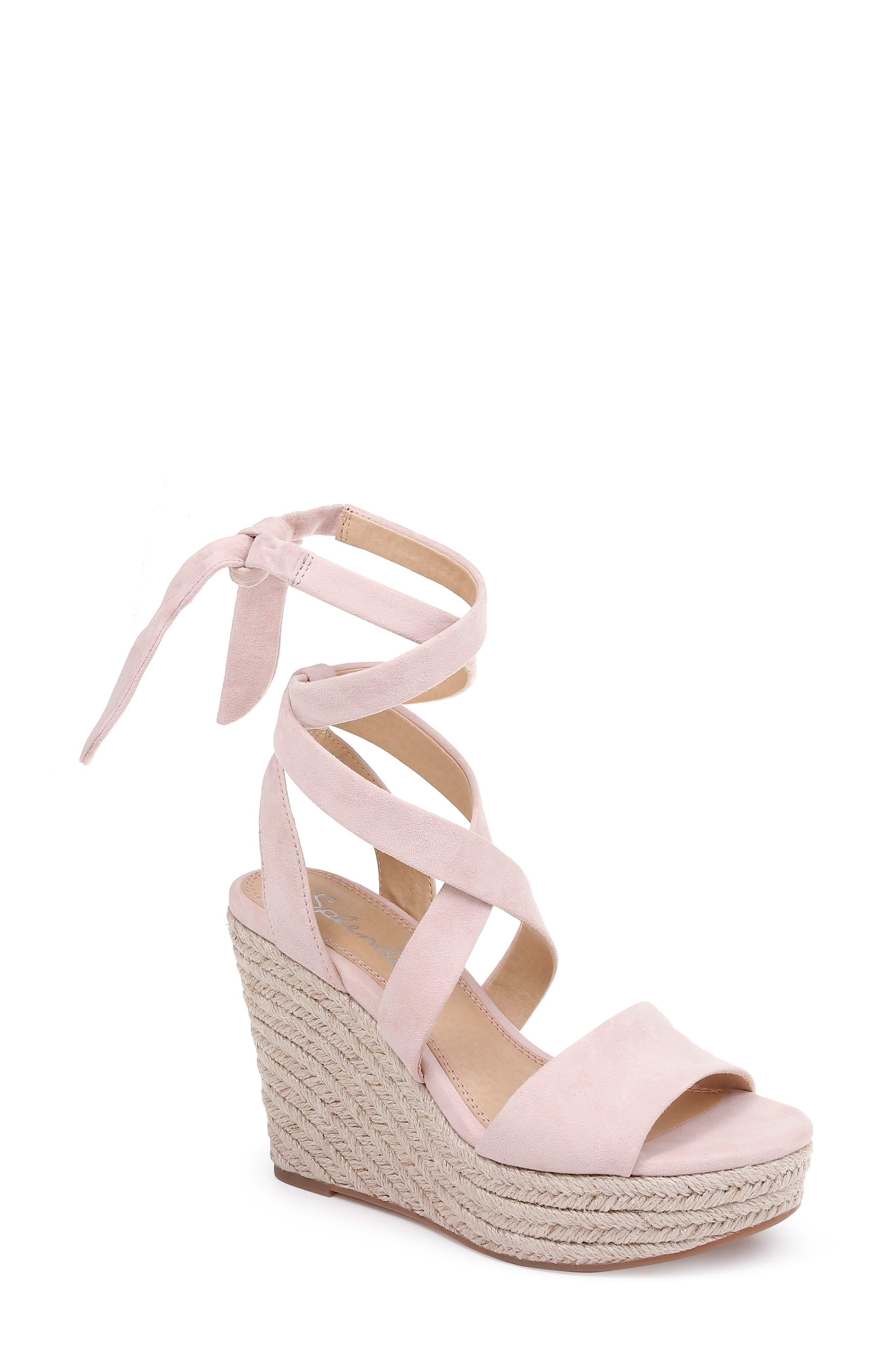 Splendid Tessie Ankle Wrap Wedge Sandal- Pink