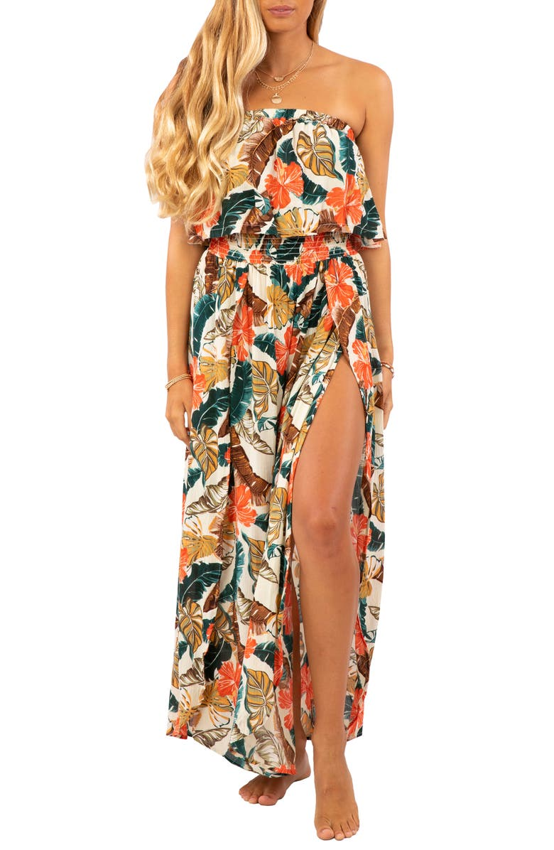RIP CURL Tropic Coast Strapless Popover Maxi Dress, Main, color, HOT CORAL