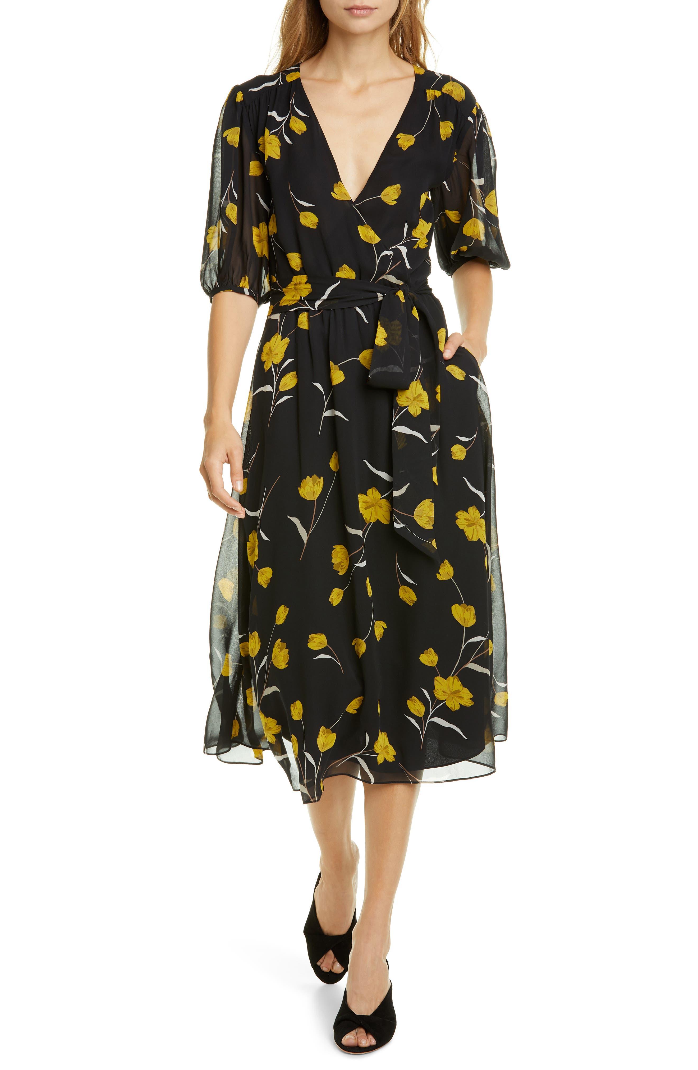 Joie Dresses Ervina Floral Wrap Front Silk Dress